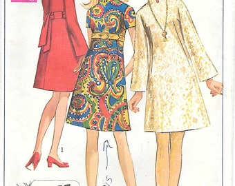 Simplicity 7897 1960s A Line Dress with Nehru Collar and Bell Sleeves Vintage Sewing Pattern Bust 36