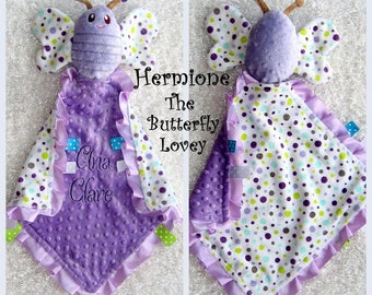 Personalized Baby Security Blanket with Butterfly Toy, AKA Lovey lovie lovy, Hermione The Butterfly Lovey by Lovablekreations