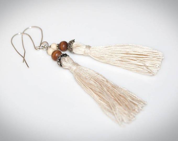 Ivory Tassel Earrings with Wooden Beads. Boho Jewelry.