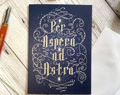 Per Aspera Ad Astra card, A6 size, hand lettering card, birthday card, get well card, sympathy card, congratulations card, typography card,