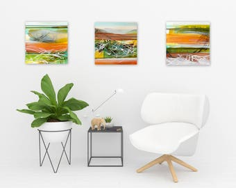 Original Abstract Triptych, Square Paintings, Abstract Landscape, Boho Decor, green white yellow orange sepia - Meditations on Transcendence