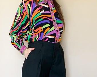 vintage OLEG CASSINI silk multicolor print blouse S-M