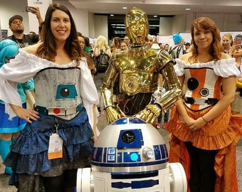 Blue, Silver, and White Astromech Droid Steampunk Corset Costume, Galaxy Far Away, Steampunk Star Wars Inspired, Pilot, Mechanical