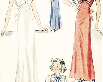 Uncut 1930s Nightgown Simplicity 2949  Girls Size Breast 24 inches Vintage Sewing Pattern