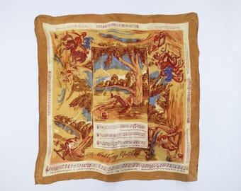 SYMPHONY SCARF // glossy silk pictorial scarf with music theme