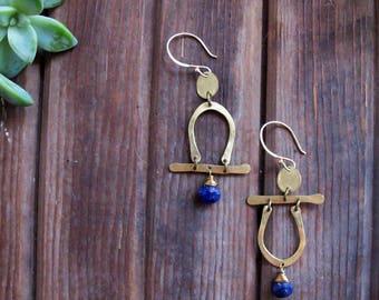 Passageways Earrings with Lapis - Asymmetric Minimalist Brass Earrings - People Earrings - Boho Artisan Jewelry - Lightweight Earrings