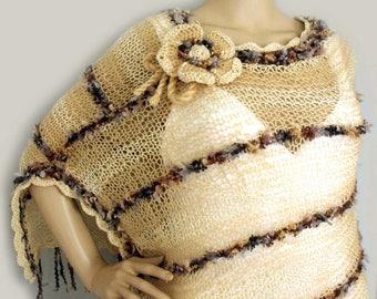 Loose knit poncho, Boho knit poncho, Boho cape, Infinity scarf, Cape poncho, Gypsy hippie poncho, Shawl stole, Fringe poncho, Fall poncho