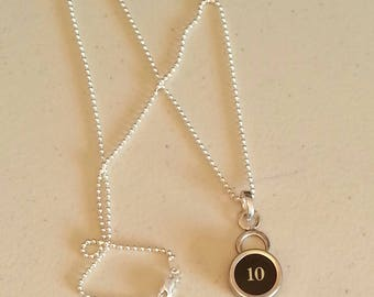 Typewriter Key Necklace Pendant in Sterling Silver