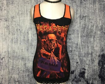 Megadeth Women's Tank Top // Reconstructed T-Shirt // Size Small // Gothic Music Alternative Horror Heavy Metal