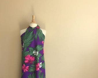 Vintage Purple And Pink Hawaiian Sarong Dress Skirt Wrap / 80s Royal Creations / Womens One Size Fits All