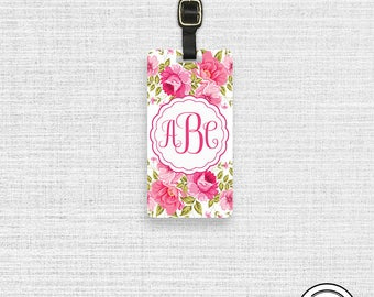 Luggage Tag Monogram Pink Romantic Floral Luggage Tag,  Name or Monogram on Front, Printed Personalization Address on Back Single tag