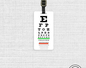 Personalized Luggage Tag Eye Chart Vision Chart Bar Custom Printed Address, text or quote on Back Single Tag