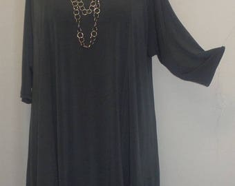 Plus Size Tunic, Coco and Juan, Plus Size Asymmetrical Tunic Top, Charcoal Gray, Traveler Knit, Size 2 (fits 3X,4X)   Bust 60 inches