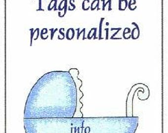 Blue Baby Carriage Baby Shower Favor Tags ~ H190