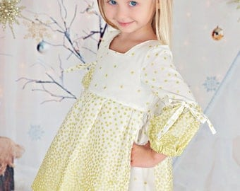 Girls Christmas Dress - Girls Holiday Dress - Winter Dress - Gold Shimmer Sparkle Dress - Special Occasion - Angel - Pleated Dress - White