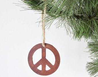 Rustic Peace Sign Metal Ornament /by WATTO Distinctive Metal Wear / 60s Symbol / Peace/ Christmas Gift / Bohemian Decor/ Boho / Hippie Decor
