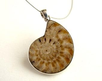 Ammonite Pendant Sterling Silver Pendant With Natural Ammonite Jewelry Ammonite Necklace Ammonite Fossil