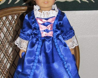5 Pc Colonial Gala Gown and Pinner Cap for American Girl Felicity or Elizabeth or other 18 inch doll