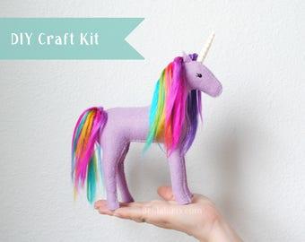 Unicorn Stuffed Animal Kit. Make Your Own Stuffed Unicorn (DIY Sewing Craft Kit, Fun Sewing Activity or Gift)