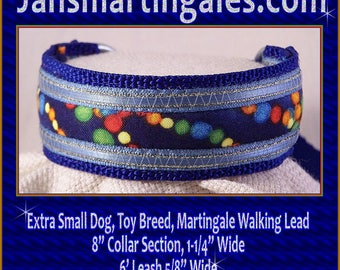 "Jansmartingales, Dog Collar Leash Combination Walking Lead,  Italian Greyhound, Small Dog Size, 8"" Collar Section Iblu089"