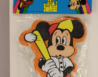 Vintage Walt Disney Mickey Mouse Two in One Magnetic Puffy Stick On  Memo Holder  NOS