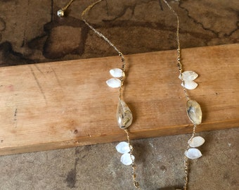 Pyrite and Rutalated Quartz Handwoven Necklace