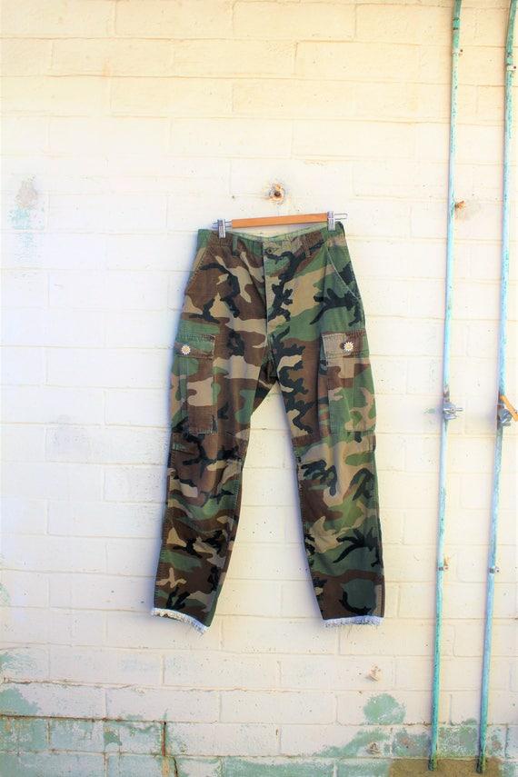 Medium Camouflage Military Pants/Upcycled Pants/Camouflage Pants/Tattered Pants/Hippie/Distressed Camouflage/Punk Rock Pants/Grunge Style