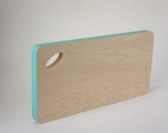 Maple Cutting Board with Turquoise colour block