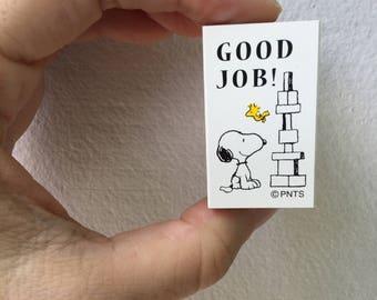 Snoopy Rubber Stamp - Good Job! -  Kodomo no Kao Stamp