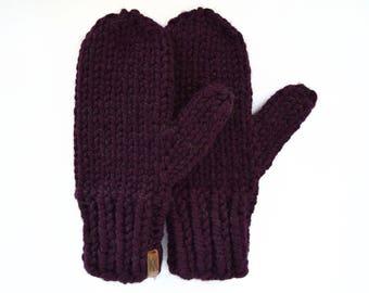 Women's Mittens // Mittens // Knitted Mittens // Ladies Mittens // Wool Mittens // Chunky Knit Mittens // Purple Mittens // Knit Mittens