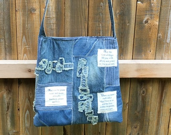 "Mixed Denim Fabric Patchwork Bag ""The Hope of God"",Handmade CrossBody Bag, Eco-Friendly bag,Shoulder Bag,Christian Bag, Jesus Bag, Jean Bag"