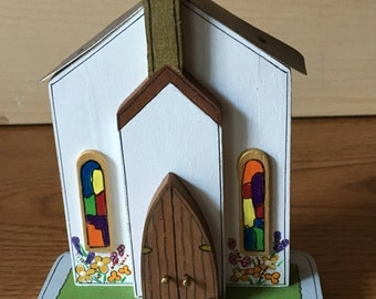 Wooden miniature church handmade 3 dimensional stands 5 inches from top to bottom. Great gift for the communicant, can be personalized.