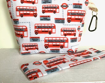 LONDON BUS Sock Project bag ,knitting,crochet,crafts, dpns case