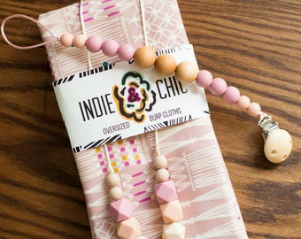 Teething Necklace - Oatmeal Pink Ombre - Fall Winter Collection
