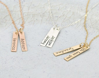 Personalized bar necklace •  Two vertical bar necklace •  Name necklace •  Mother Necklace •  Personalized Necklace • Bar necklace for mom