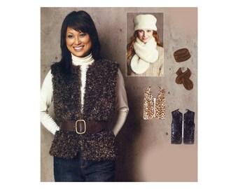 Faux Fur Fleece Accessories Pattern Vest Hat Scarf Winter Wardrobe Accessories Pillbox Hat Keyhole Scarf McCalls 9274 Sewing Pattern