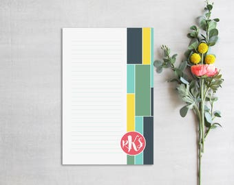 Monogram Notepad, Modern Personal Stationery with Initials, Geometric Custom Desk Pad, Colorful Monogrammed Personalized Notepad with Lines