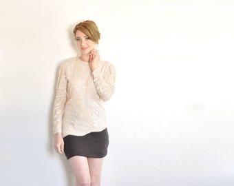 pastel pink sequin sparkle blouse . asymmetric scallop long sleeve top .medium