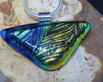 Blue Gold Dichroic Glass Pendant - Dichroic Fused Glass Pendant - Dichroic Fused Glass Jewelry - Fused Glass UK - Fused Glass Pendant