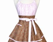 Flirty Chic Retro Apron - Womens Sexy Pink Rose Bud Vintage Inspired Pinup Hostess Apron (DP)
