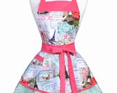 PLUS SIZE Womens Ruffled Retro Apron - Romantic French Eiffel Tower Womans Pinup Apron with Pocket to Personalize or Monogram (DP)