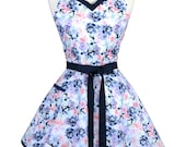 Sweetheart Retro Apron - Indigo Blue Pink and Mint Green Painted Floral Apron - Womens Flirty Sexy Kitchen Pinup Cute Apron with Pocket