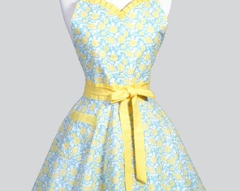 Sweetheart Pinup Womans Apron - Aqua Yellow Floral Retro Vintage Inspired Flirty Ruffled Kitchen Apron with Pockets