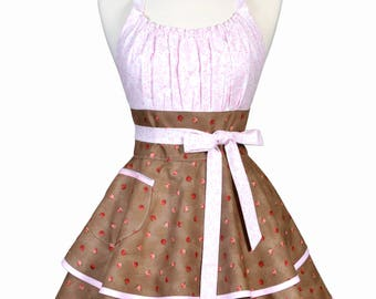 Womens Flirty Chic Apron - Pink Beige Pretty Rose Bud Womans Cute Retro Vintage Pinup Kitchen Hostess Apron with Full Ruffled Skirts (DP)