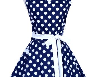 Sweetheart Retro Apron - Nautical Navy Blue White Polka Dot Womens Pinup Flirty Kitchen Apron with Pocket to Personalize or Monogram