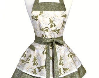 Womens Ruffled Retro Apron - Ivory Olive Green Hydrangea Floral Vintage Style Pinup Kitchen Apron to Personalize or Monogram (DP)