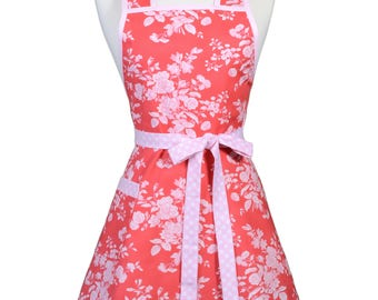 Womens Vintage Apron in Soft Pink Red Rose Floral Cute Retro 50s Style Kitchen Apron with Pocket and Personalized Monogram Option