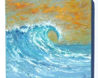 Beach painting of large ocean wave, crashing wave with foam, 12x12 square ocean wave painting, ocean painting