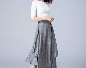 gray skirt, linen skirt, asymmetrical skirt, fitted skirt, midi skirt, tiered skirt, high low skirt, swing skirt, womens skirts, gift 1774