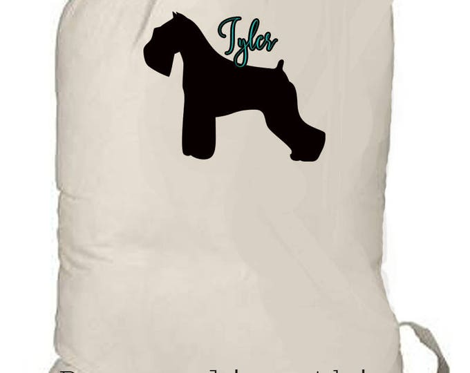 Large laundry bag, personalized laundry tote, Dog lover gift, schnauzer dog graphic, beach bag, boy's camp bag, family laundry bag, backpack